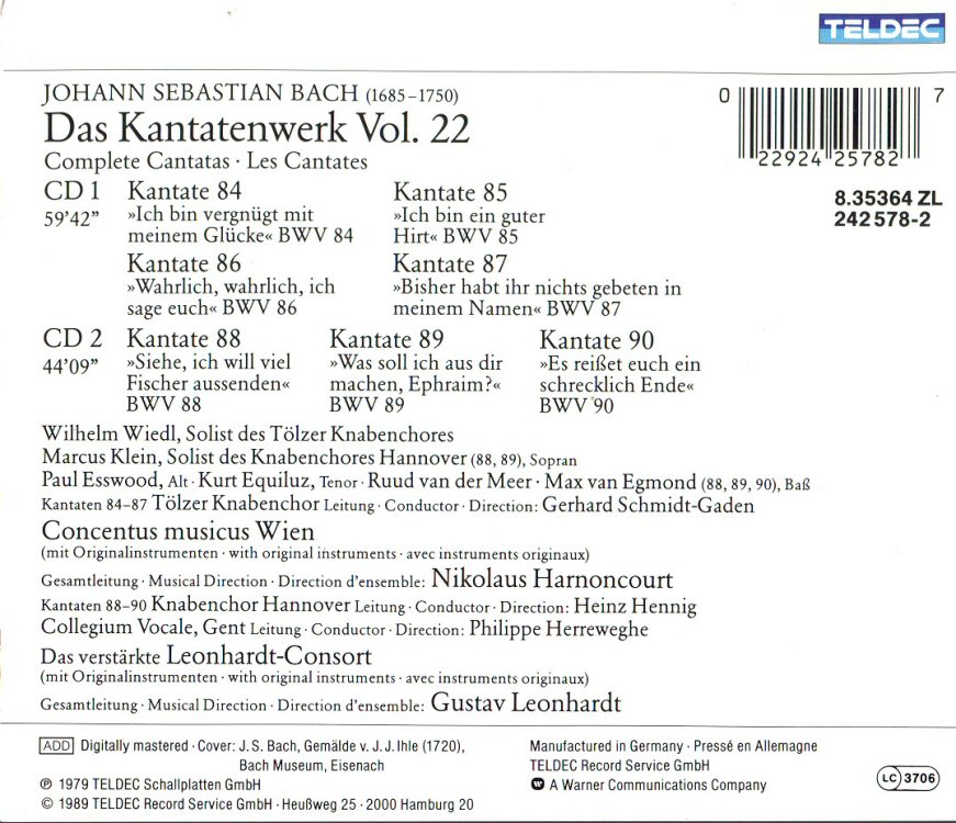 Cantata BWV 87 - Detasils & Discography Part 1: Complete Recordings